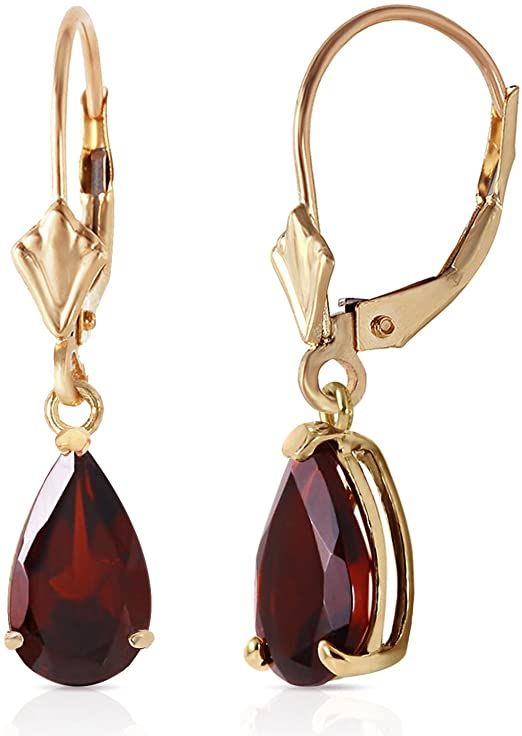 Galaxy Gold 2.5 Carat Solid Yellow Gold Lever-back Earrings with Natural GARNET