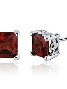 Garnet Stud Earrings Sterling Silver