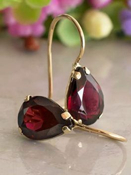 Genuine Gold Garnet Earring Gemstone, Handmade for Women