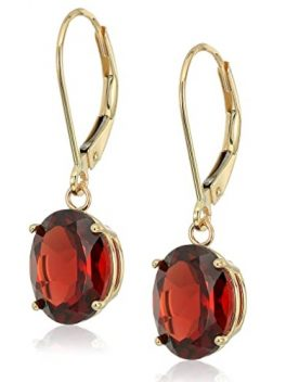Gold Gemstone Dangle Lever-back Earrings