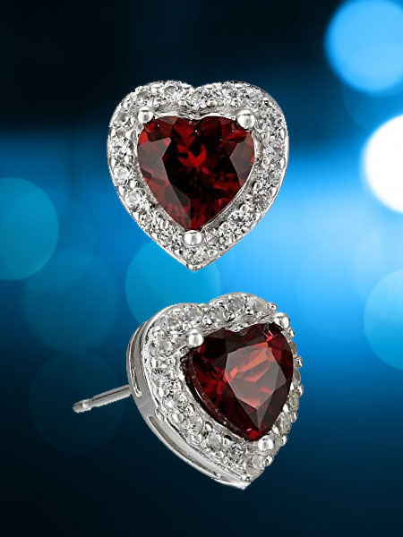 Sterling Silver Created White Sapphire Halo Heart Stud Earrings