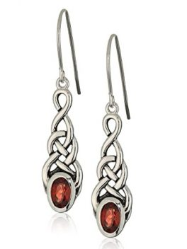 Sterling Silver Gemstone Celtic Knot Linear Drop Earrings