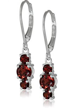 Sterling Silver Genuine Gemstone Lever-back Dangle Earrings