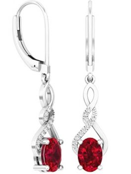 Sterling Silver Oval Gemstone & Round Diamond Dangling Drop Earrings
