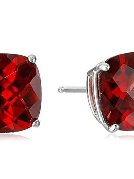 White Cushion-Cut Checkerboard Garnet Earrings