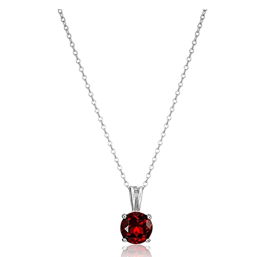 Amazon Essentials Sterling Silver Genuine or Created Round Cut Birthstone Pendant Necklace 1