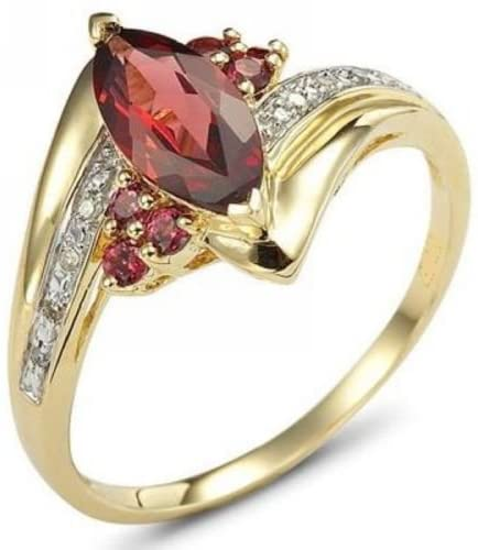 HQ Jewelry Fashion- Red Garnet Luxury Gold Womens Anniversary Rings 1