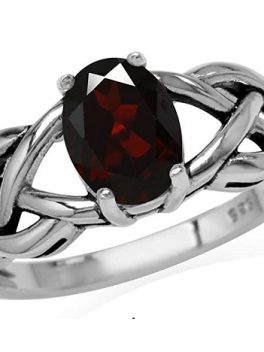 Silvershake Natural Garnet Sterling Silver Solitaire Ring 1