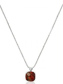 Sterling Silver Cushion-Cut Genuine Gemstone Pendant Necklace 1