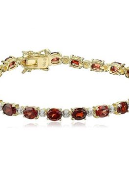 Sterling Silver Diamond Accent Gold Plated Two Tone Gemstone and Tennis Bracelet 1