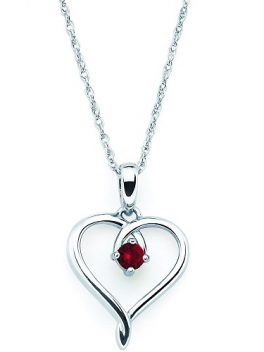 Sterling Silver Heart Pendant Birthstone Necklace 1