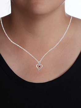 Sterling Silver Heart Pendant Birthstone Necklace 2