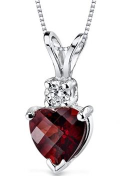 White Gold Heart Shape Garnet Diamond Pendant 1